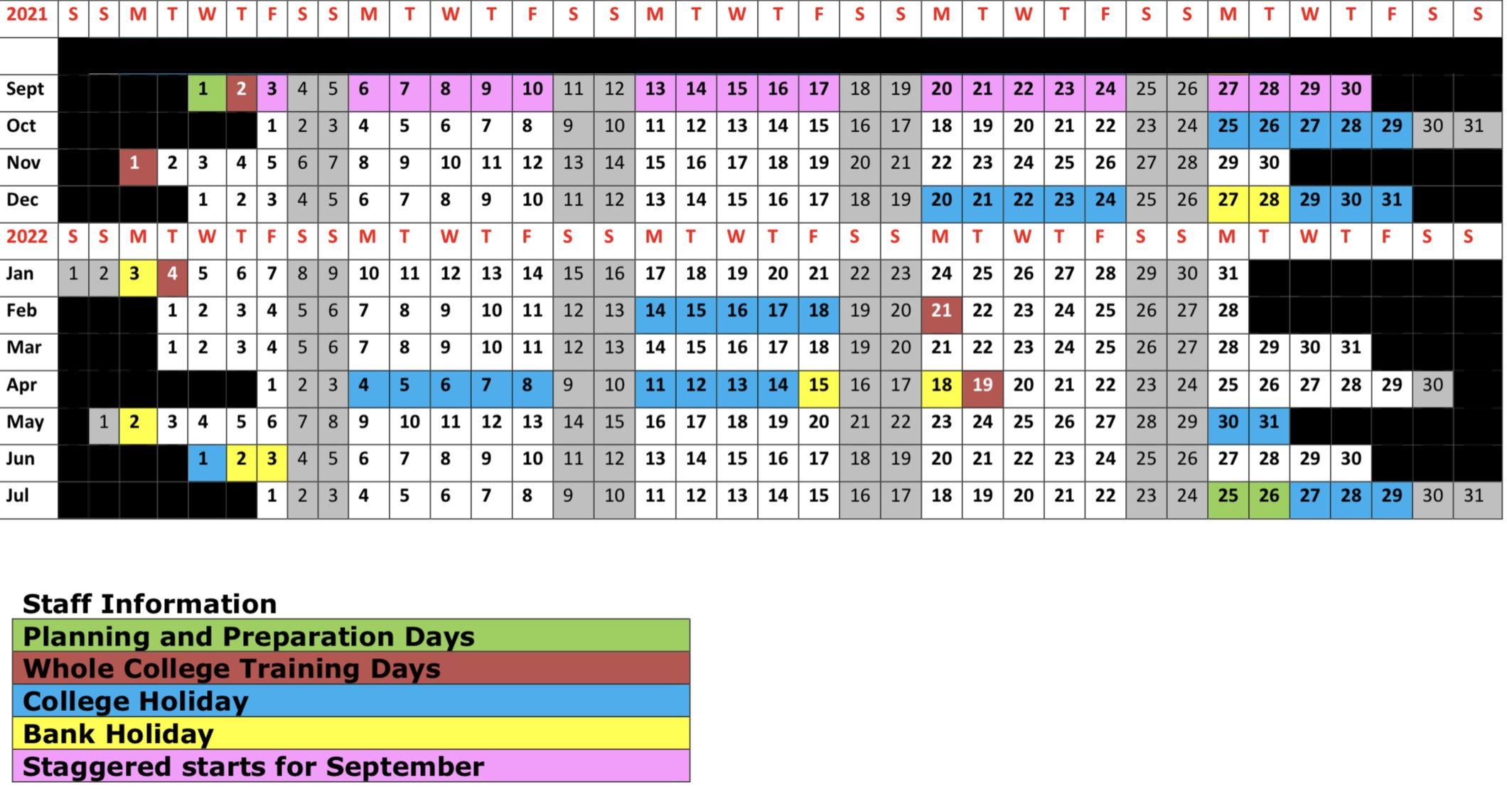 2021-2022 Terms calendar